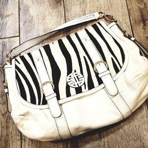 Antonio Melani leather handbag white and black